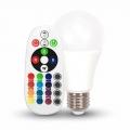 RGB LED žiarovka E27 s výkonom 6 W 6400K